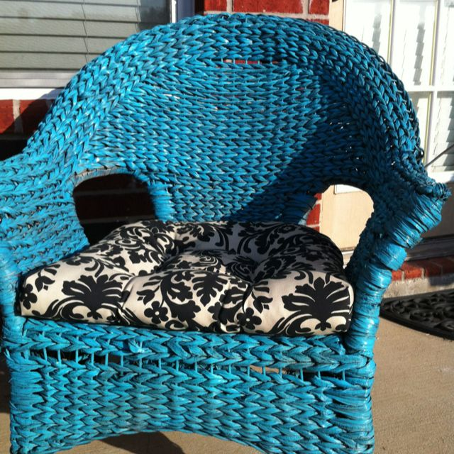 DIY Turquoise wicker chair with black damask chair cushions. Was