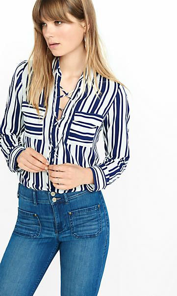 striped lace-up convertible sleeve blouse