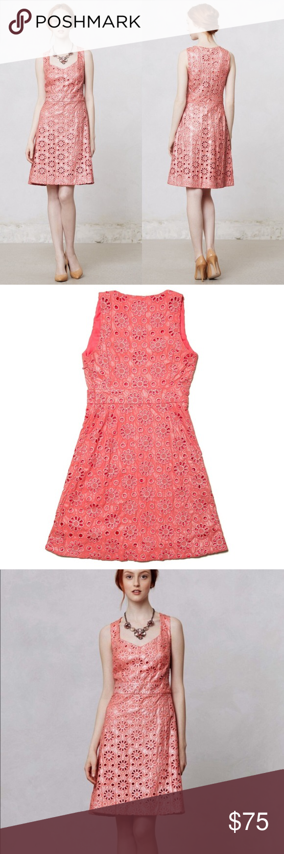 4c76b9ceecd1 NWT Anthropologie coral eyelet midi dress Mint condition new with tags coral  eyelet floral midi sleeveless dress by Maeve for Anthropologie.
