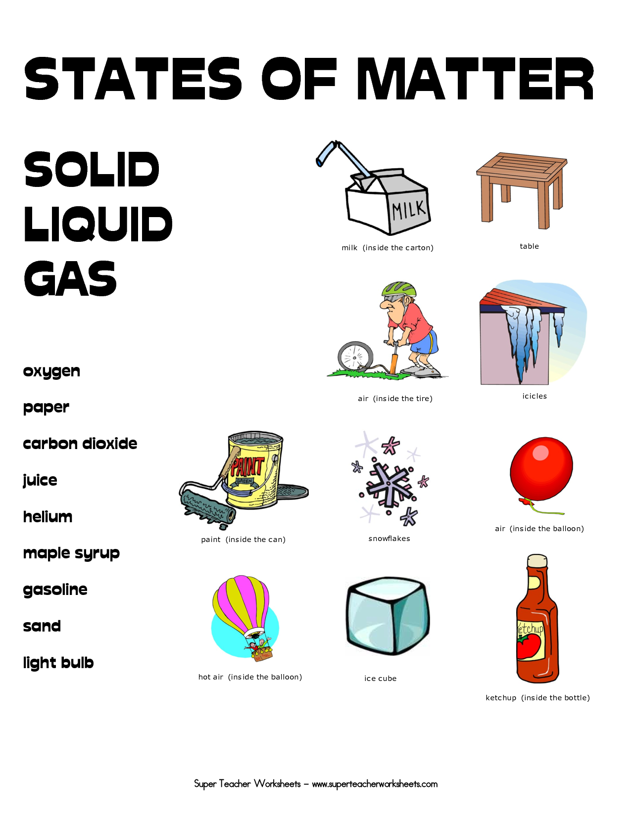 worksheet First Grade Matter Worksheets free printables on states of matter and worksheets