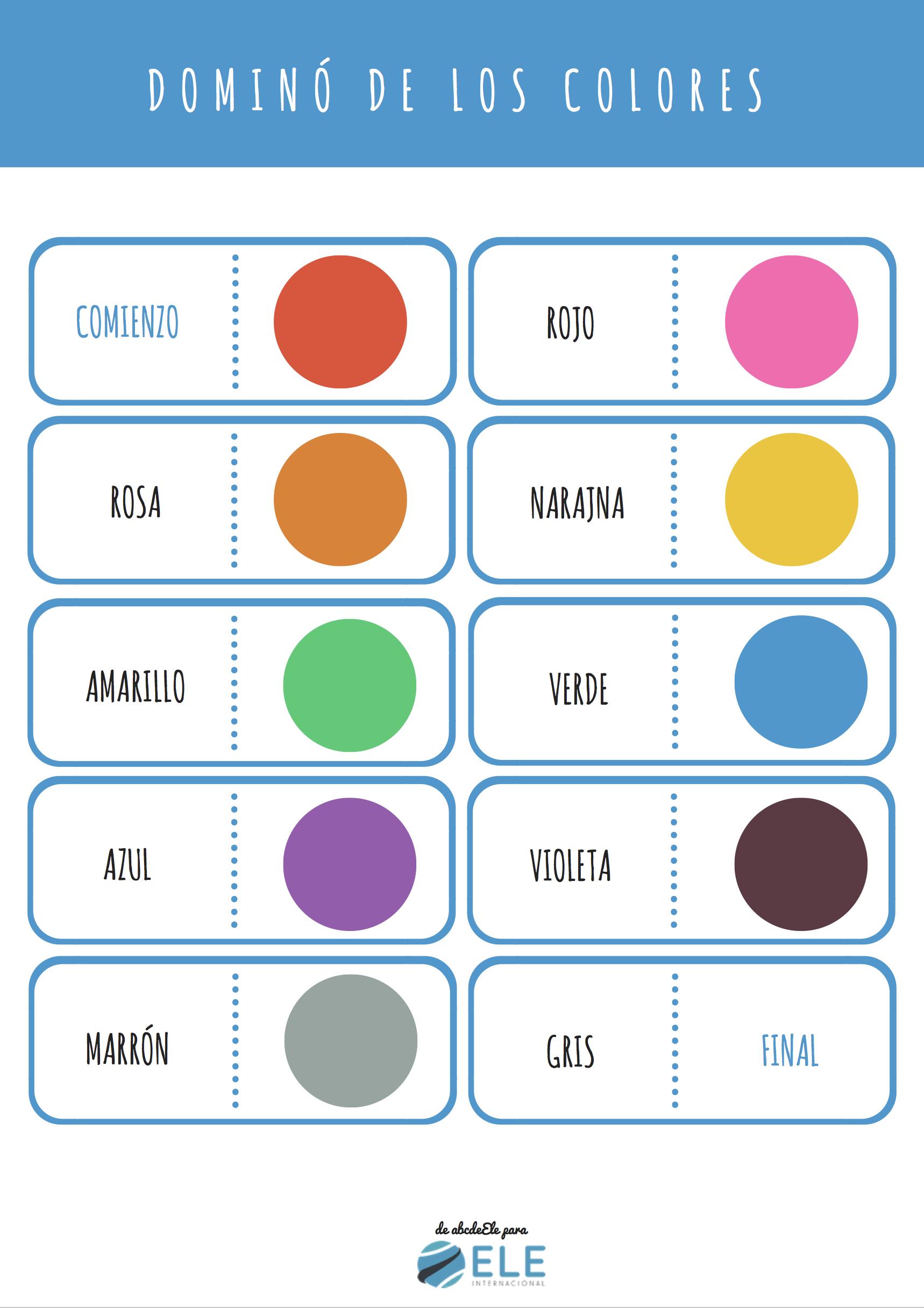 Los Colores En Espanol Colours In Spanish Domino Colors In