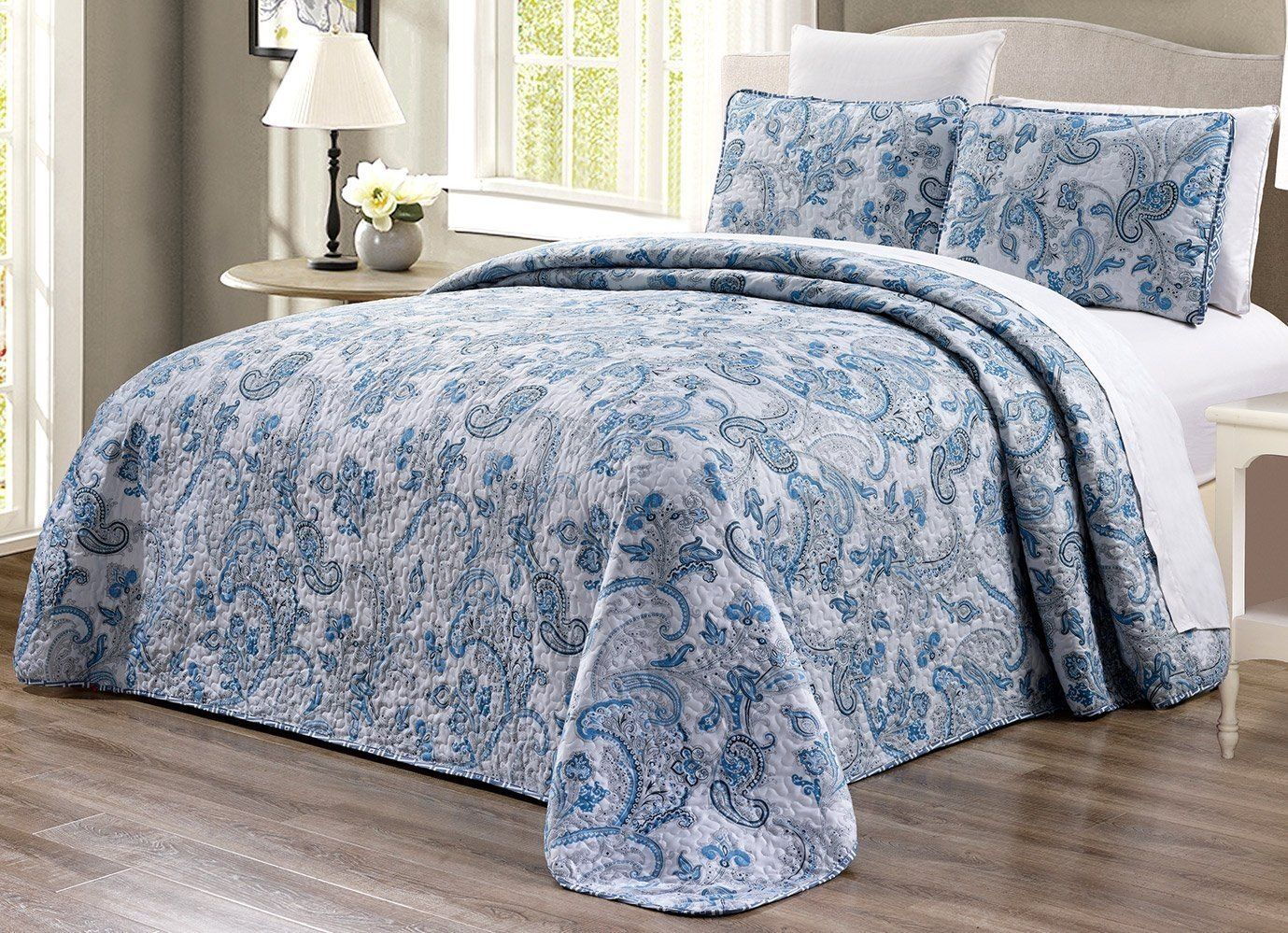 Oversize King Grey Black White Blue Paisley 3 Piece Oversize 290cm X 240cm Fine Printed Prewashed Bed Spreads Twin Bedspreads King Size Bed Covers