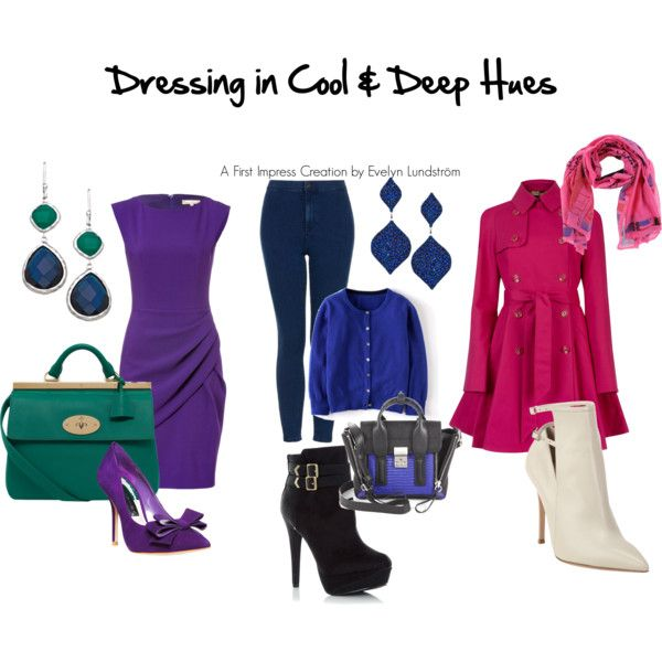 """""""Dressing in the Cool & Deep Hues"""" by firstimpress on Polyvore"""