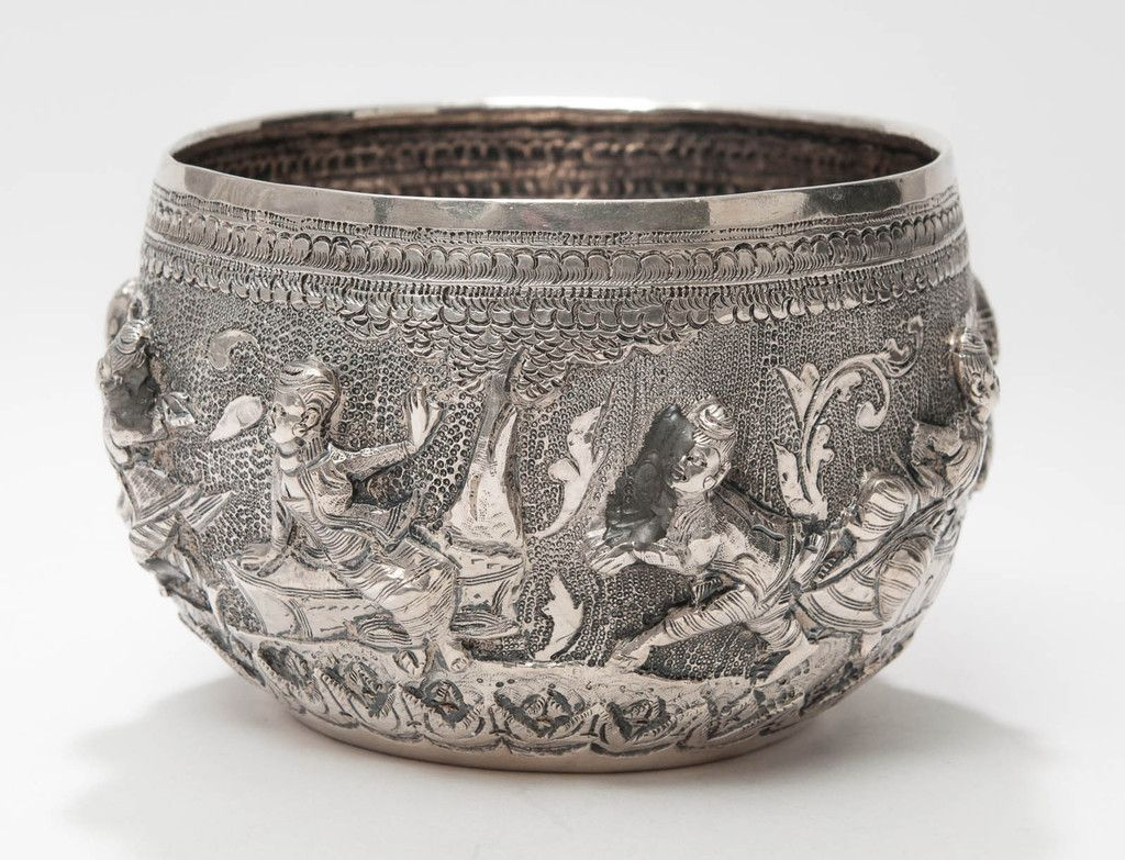 An Antique White Metal Silver Burmese Bowl With Repousse Characters Code 9021