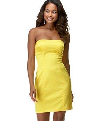 yellow strapless dresses - Dress Yp