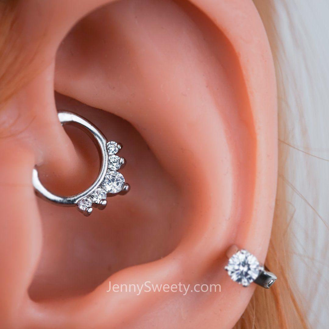 Zircon Daith Earring Cartilage Septum Ring Nose Ring Hoop Cartilage