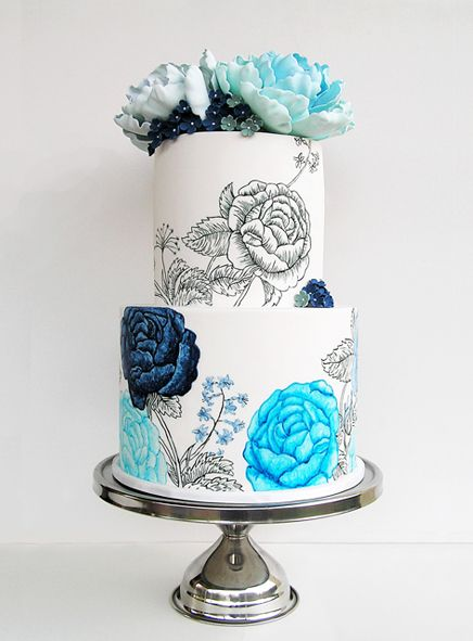 Blue Rose Wedding Cake | Sweet Disposition Cakes