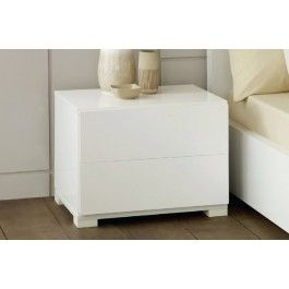 Roma Modern White Lacquer 2 Drawer Nightstand Contemporary
