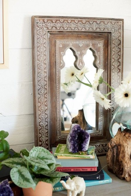 Dark Natural Painted Wood Mirror Earthbound Trading Co