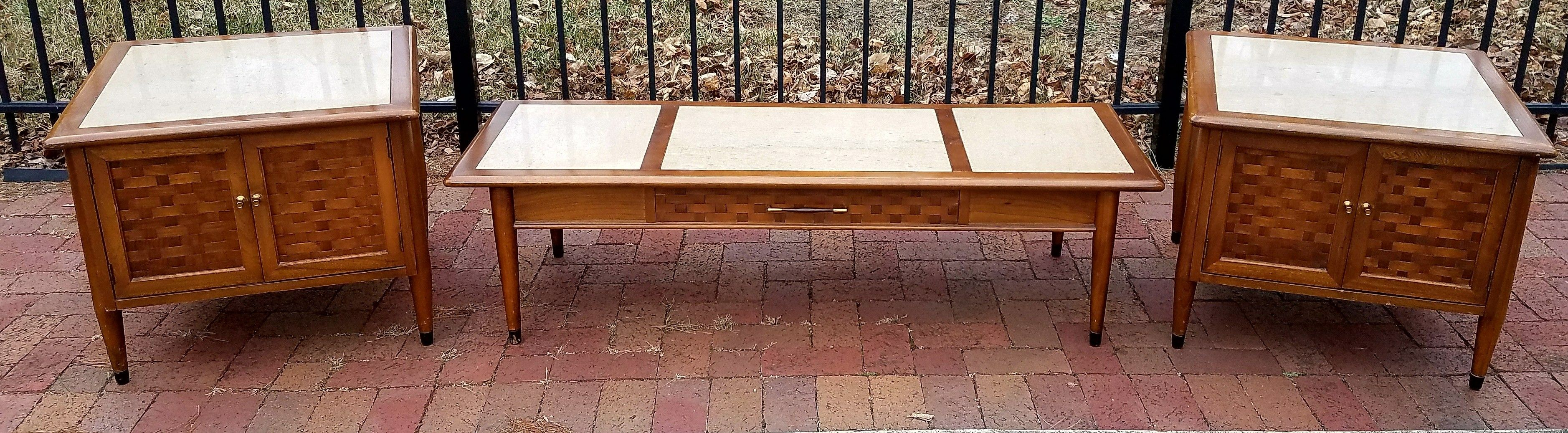 Mid Century Modern Mcm Coffee Table And 2 End Set In Walnut With