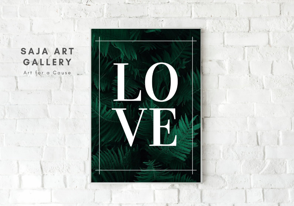 Instant Download Love Word Printable Wall Art, Tropical