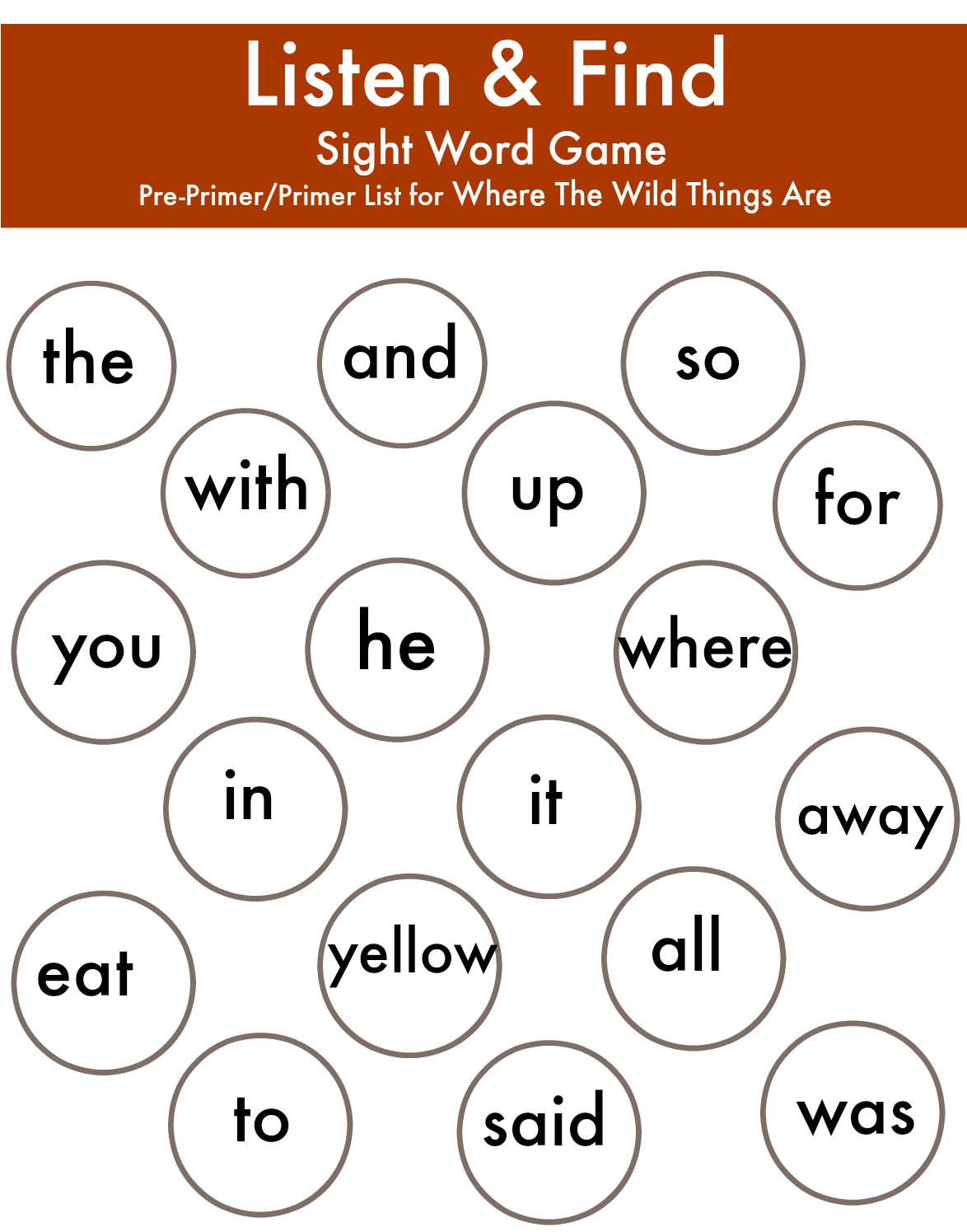 Where The Wild Things Are - Listen & Find Sight Word Activities ...