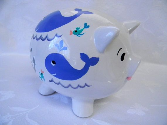 personalized whale piggy bank