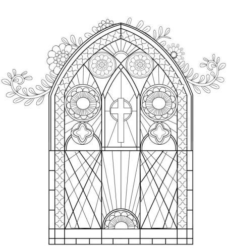 christion stain glass coloring pages | Suzanne Khushi - Religious-colouring-book-stained-glass ...