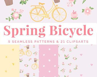 Yellow bicycle with flower basket on pink background printable home spring bicycle clipart set with seamless patterns digital paper yellow bicycle vector flowers mightylinksfo Image collections