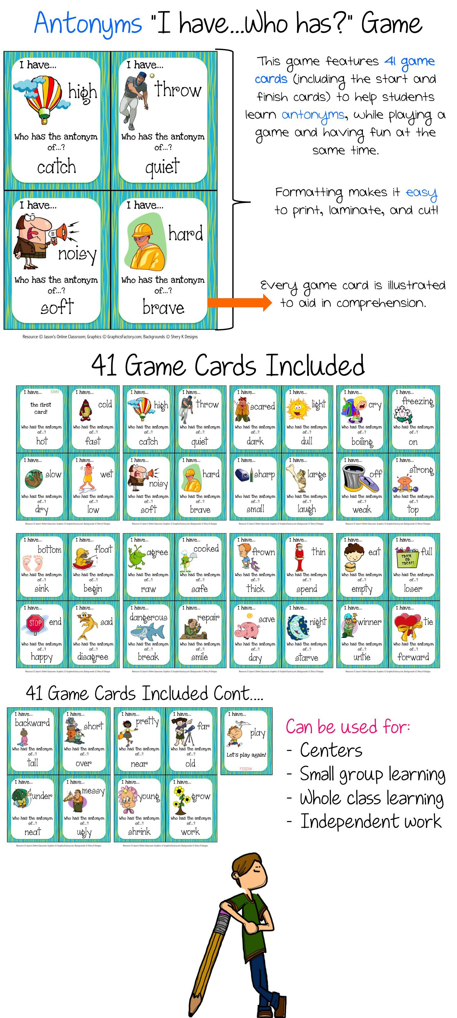 Antonyms Speaking & Listening I Have, Who Has Game | Game cards ...