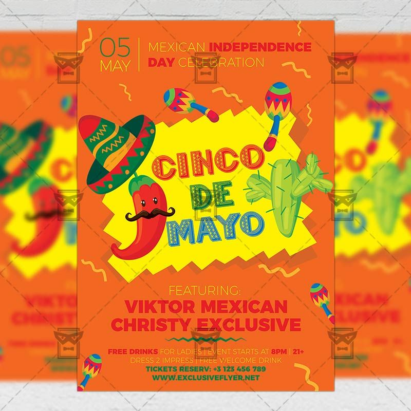 5 De Mayo Celebration Seasonal A5 Flyer Template Flyer Template