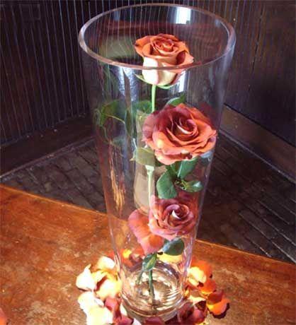 Three Vase Centerpiece Rose Diy Centerpiece Candle Ideas