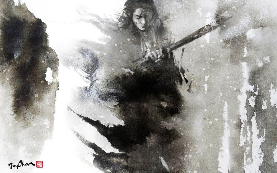 a man, a sword wallpaper