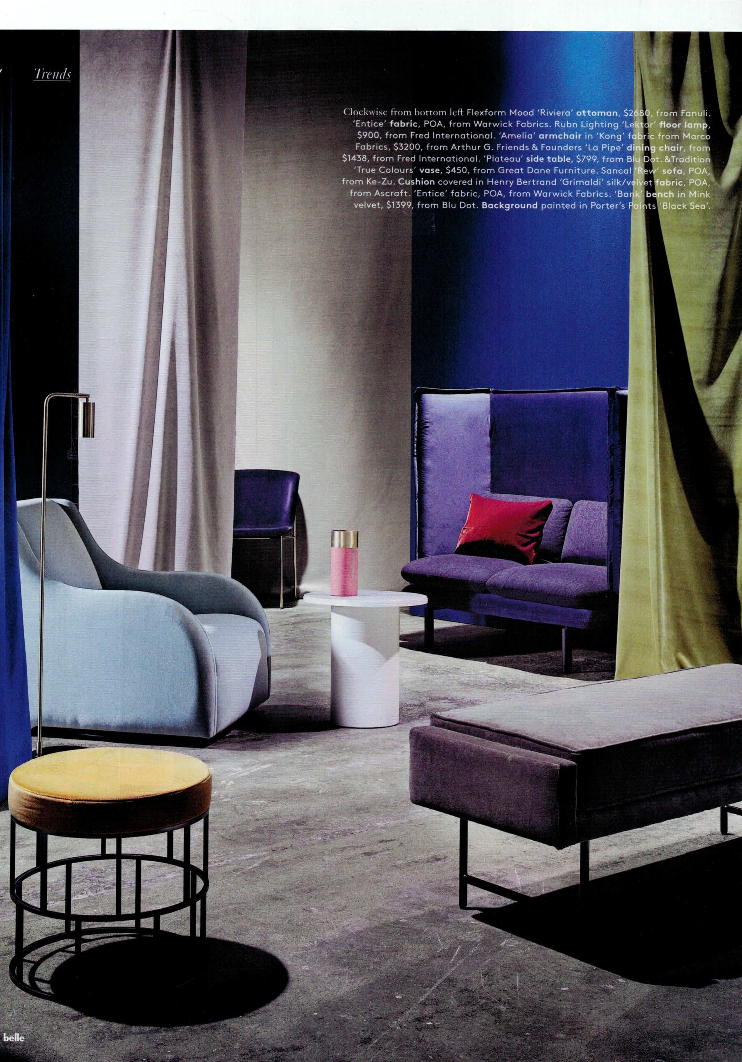 Our Amelia Swivel upholstered in Kong featured in belle magazine. Styled by Steve Cordony.