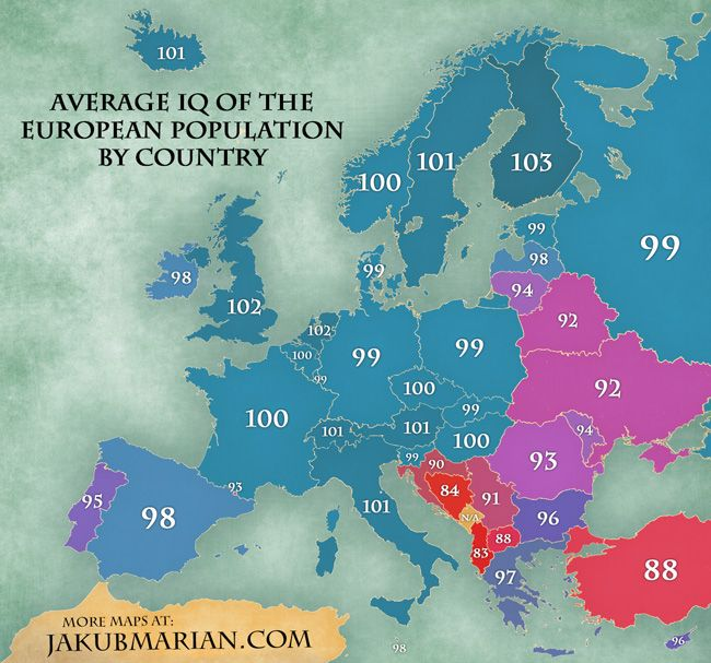 Europe- IQ map | Quite Interesting | Country maps, Average ...