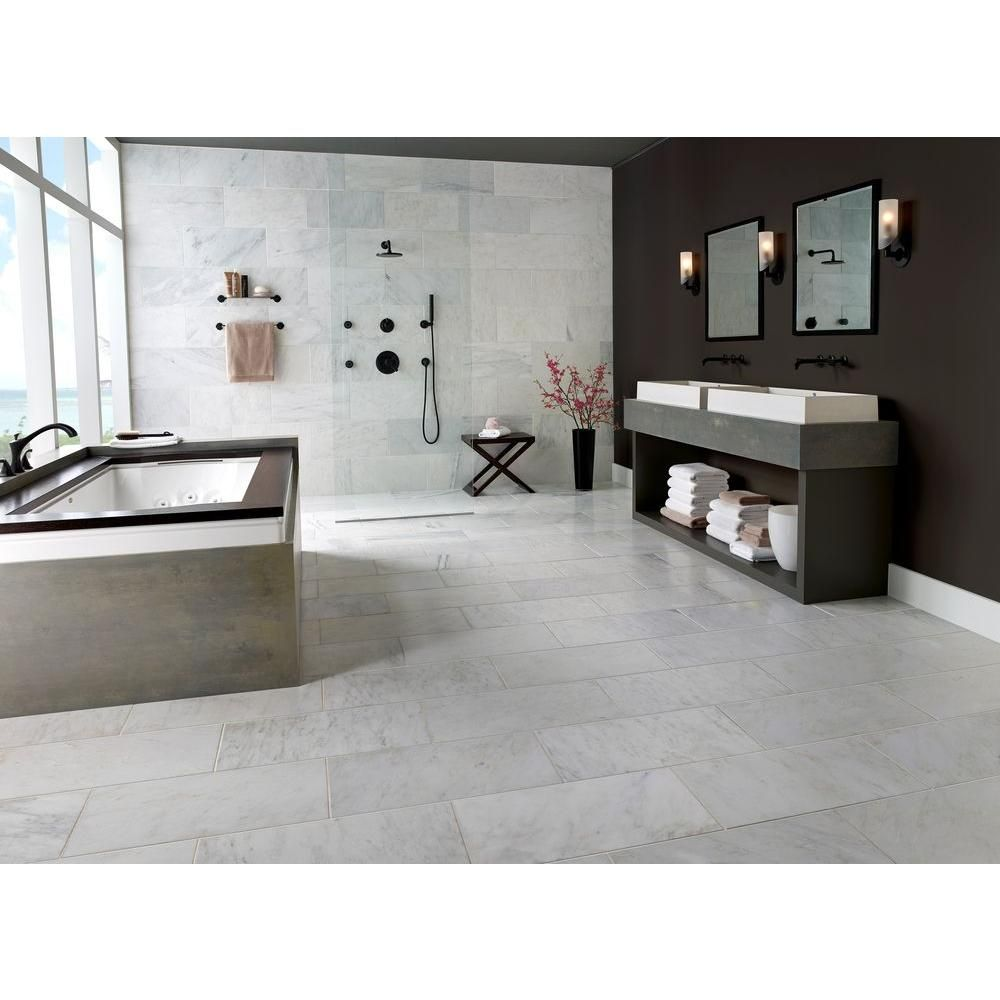 Msi Greecian White 12 In X 24 In Polished Marble Floor And Wall Tile 10 Sq Ft Case Thdvenwht1224 The Home Depot White Marble Bathrooms Marble Floor Bathroom Floor Tiles