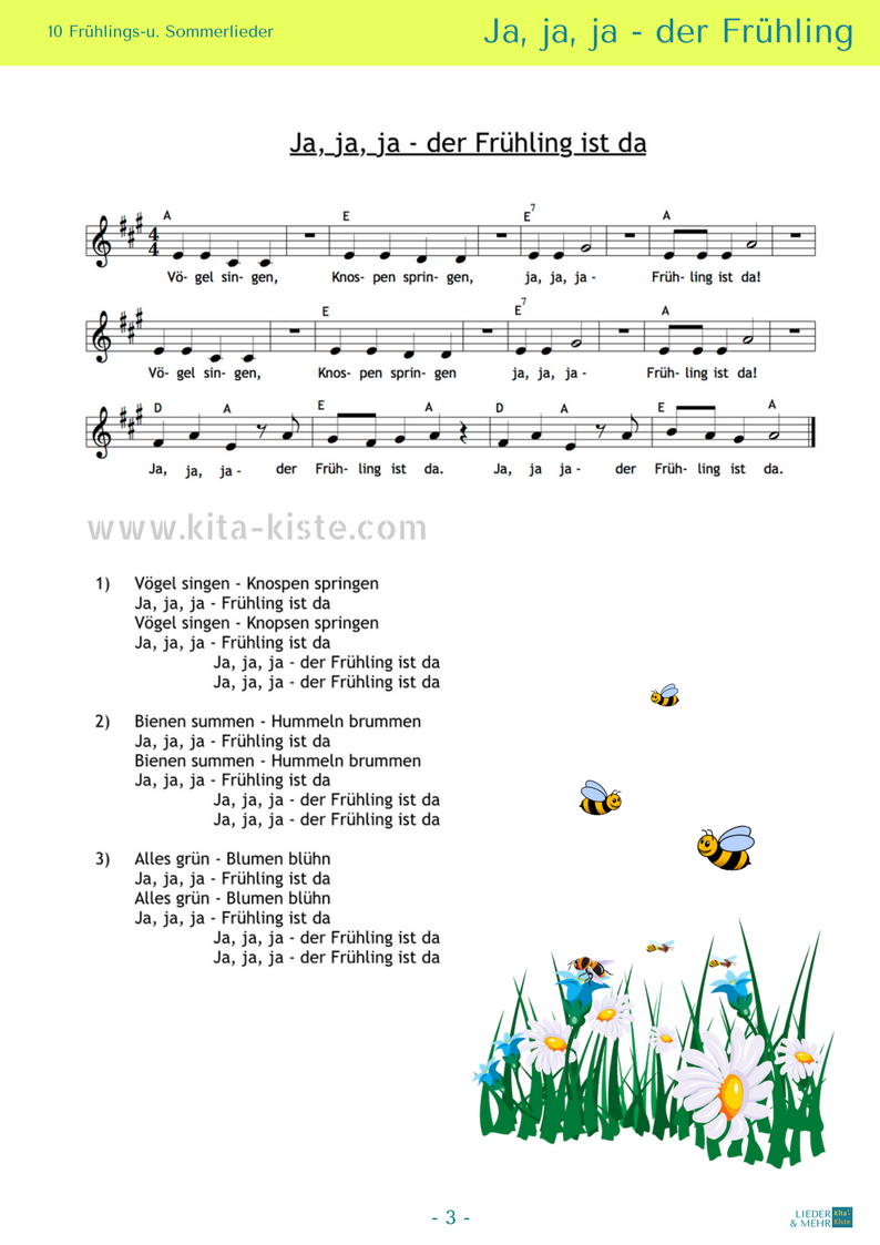 10 Noten / 10 Liedtexte - 2 Gedichte - Morgenkreis / Ostern ...