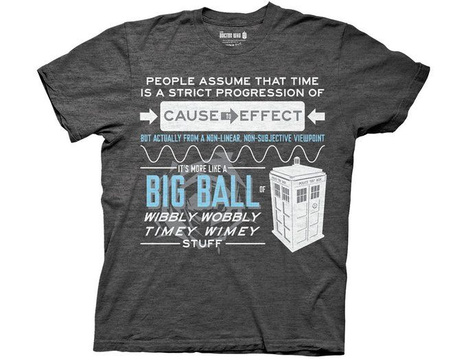 e9067c4f67d Doctor Who Wibbly Wobbly Quote Adult Gray T-Shirt (Adult Small ...