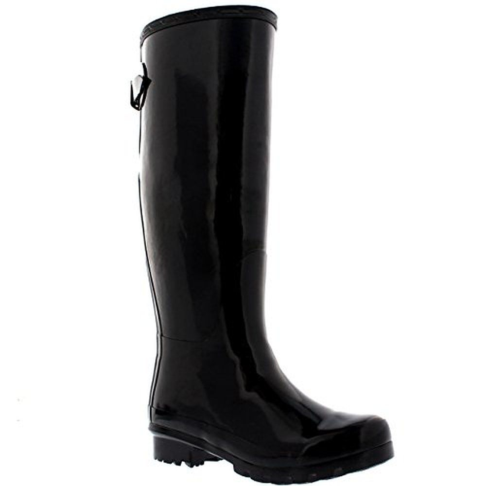 boots: Womens Adjustable Back Tall Gloss Wellington Winter Wellies Snow Rain Boots - Black - 8 ||| ||| ||| Womens Adjustable Back Tall Gloss Wellington Winter Wellies Snow Rain Boots - Black - 8 :boots