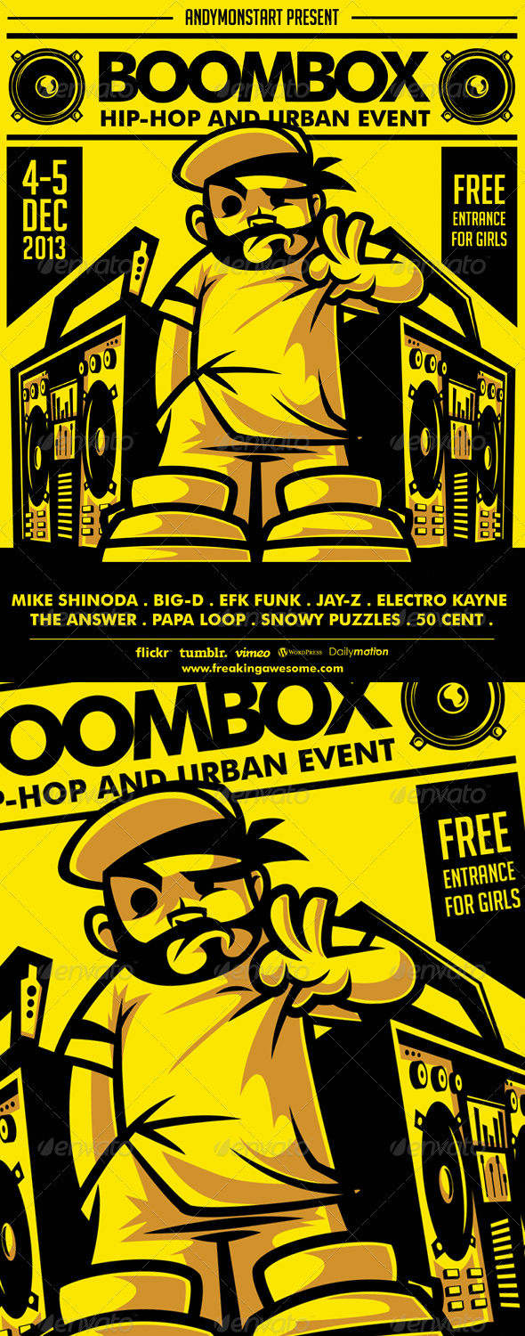 Boombox HipHop And Urban Flyer  Hip Hop Flyer Template And Logos