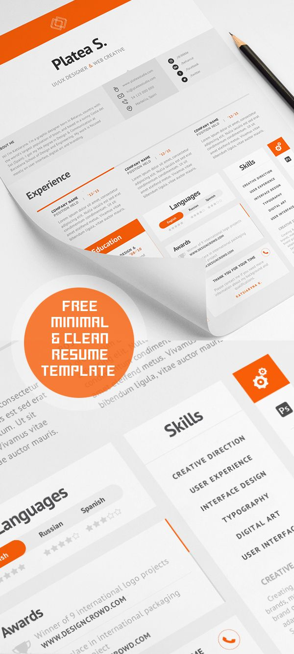 Free Minimal And Clean Resume Template  Templets