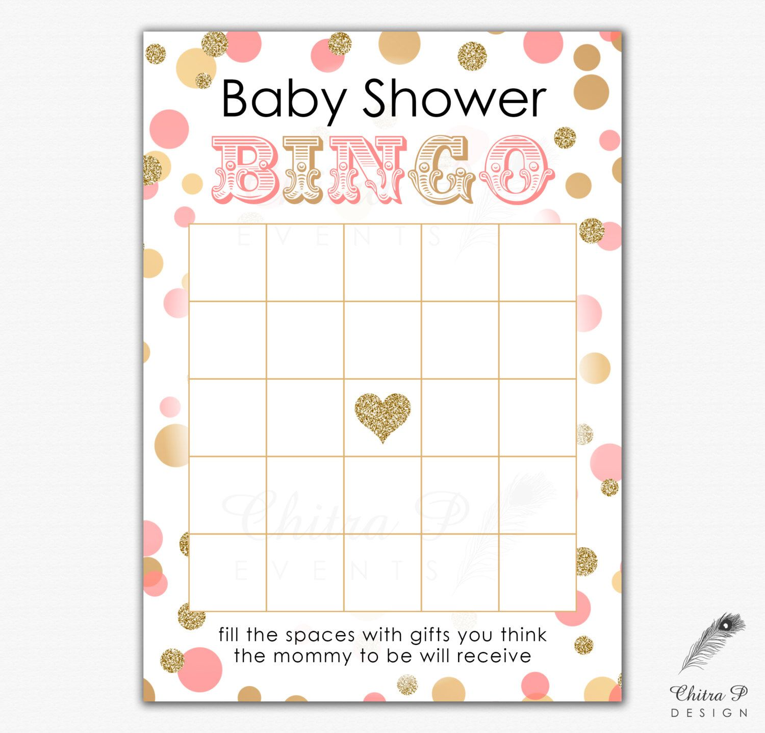 Pink & Gold Baby Shower Bingo Card Printed or Printable Instant