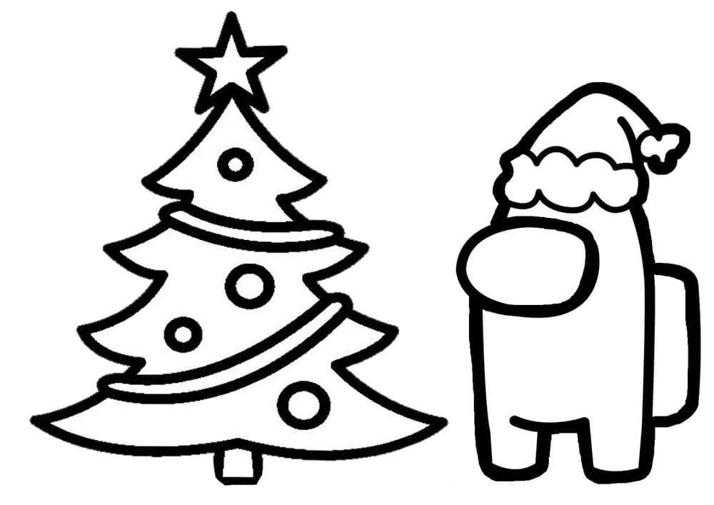 19++ Among us holiday coloring pages HD