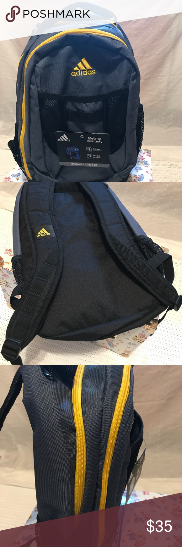 f584a1f6c7d0 Adidas backpack Atkins backpack Colored black yellow  gray good condition   still with tags  feel free to send me an offer adidas Accessories Bags