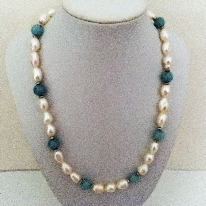 collier perle aigue marine
