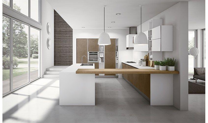Cucina con isola moderna modello Mirò Colours di Aran Cucine, da ...