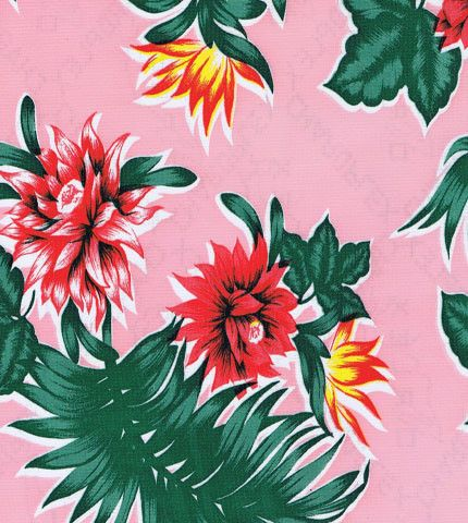 Pink Tropical Oilcloth Fabric