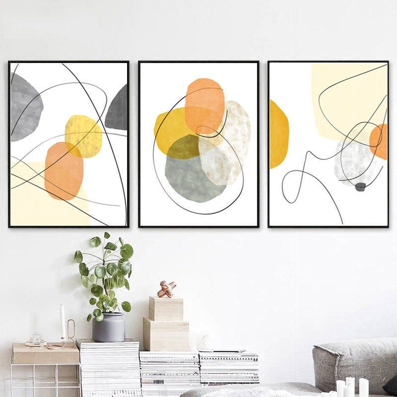 Geometric Abstract Set Of 3 Wall Art Yellow Print Orange Decor Scandinavian Poster Minimal Artwork Digital Pr Retro Painting Modern Geometric Art Wall Art Sets