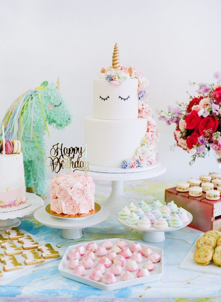 Unicorn themed first birthday party Birthday party