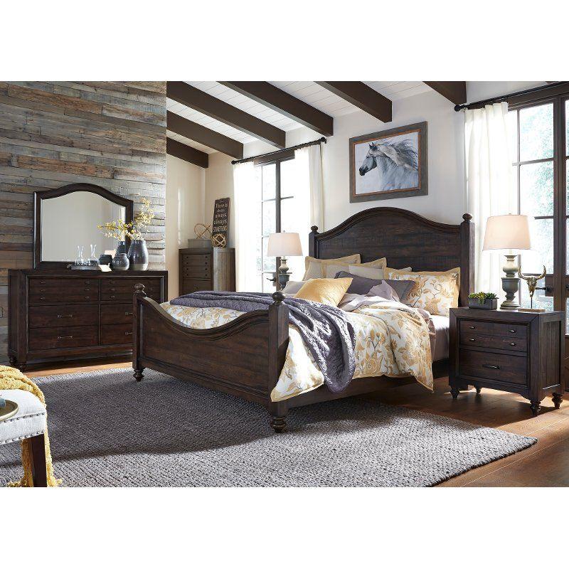 Traditional Dark Brown 4 Piece Queen Bedroom Set Catawba King Bedroom Sets Cheap Bedroom Furniture Bedroom Sets Queen