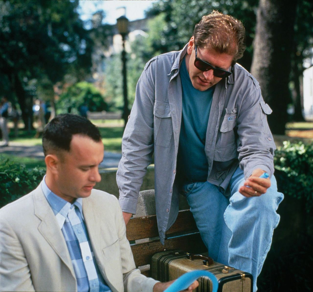Tom Hanks and Robert Zemeckis behind the scenes of Forrest Gump (1994)