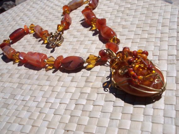 Sedona Sunset Carnelian and Crystal Beaded by studioonthepond, $89.00