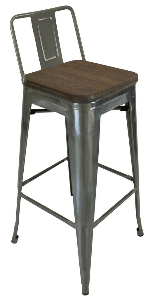 Magnificent Tolix Style Low Back Bar Stool With Wood Seat Gunmetal In Pabps2019 Chair Design Images Pabps2019Com