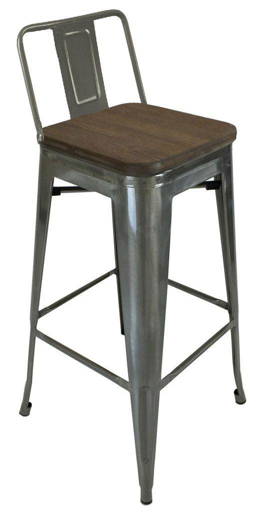 Tolix Style Low Back Bar Stool With Wood Seat Gunmetal Bar
