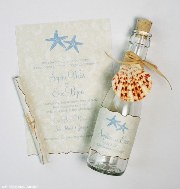 Message In A Bottle Wedding Invitations Cute Simple And Great For Beach