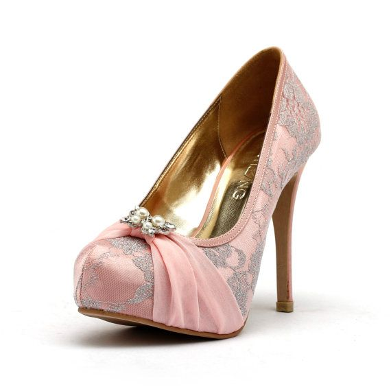 Lady Romance Baby Pink Wedding Heels Chiffon Shoes With Lace Butterfly Sweet