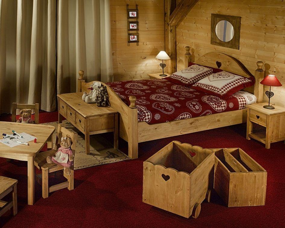 Lit Bois De Pin Massif Rustique 2 Places 140 X 190 Cm Terroir Deco Chambre Chalet Deco Lit Lit