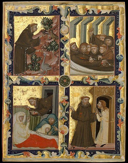 Pagina in manuscript met scenes uit het leven van Franciscus, ca. 1320–42. Gemaakt in Bologna voor gebruik in Hongarije.