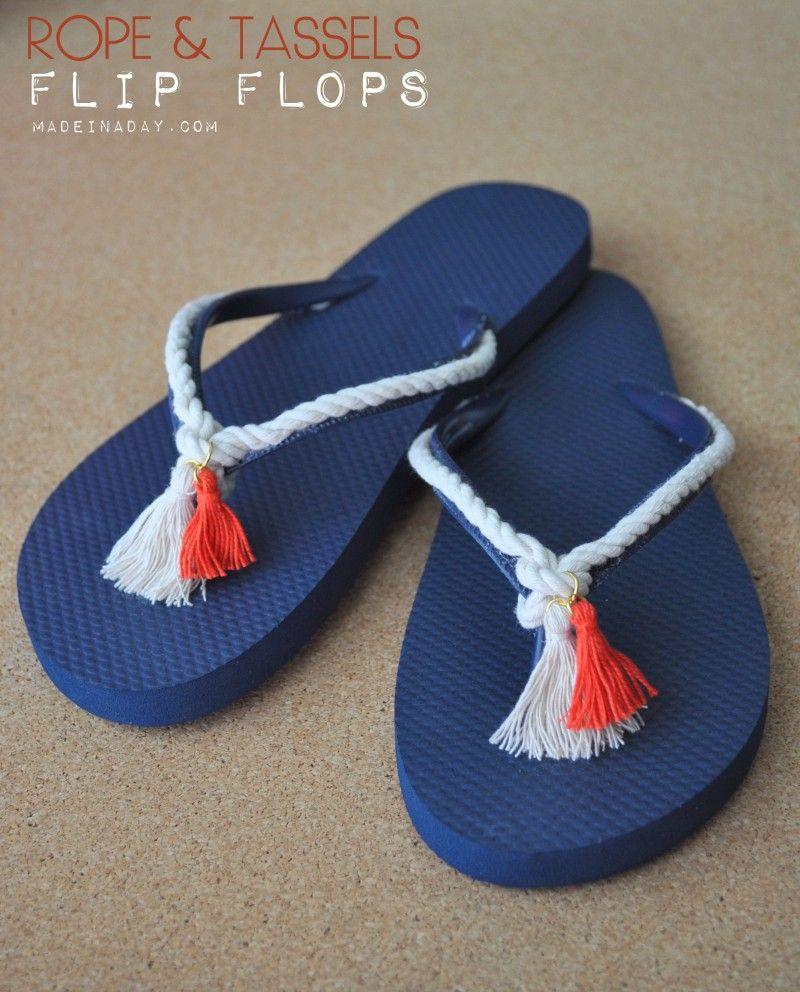 DIY Rope & Tassel Flip Flops madeinaday.com