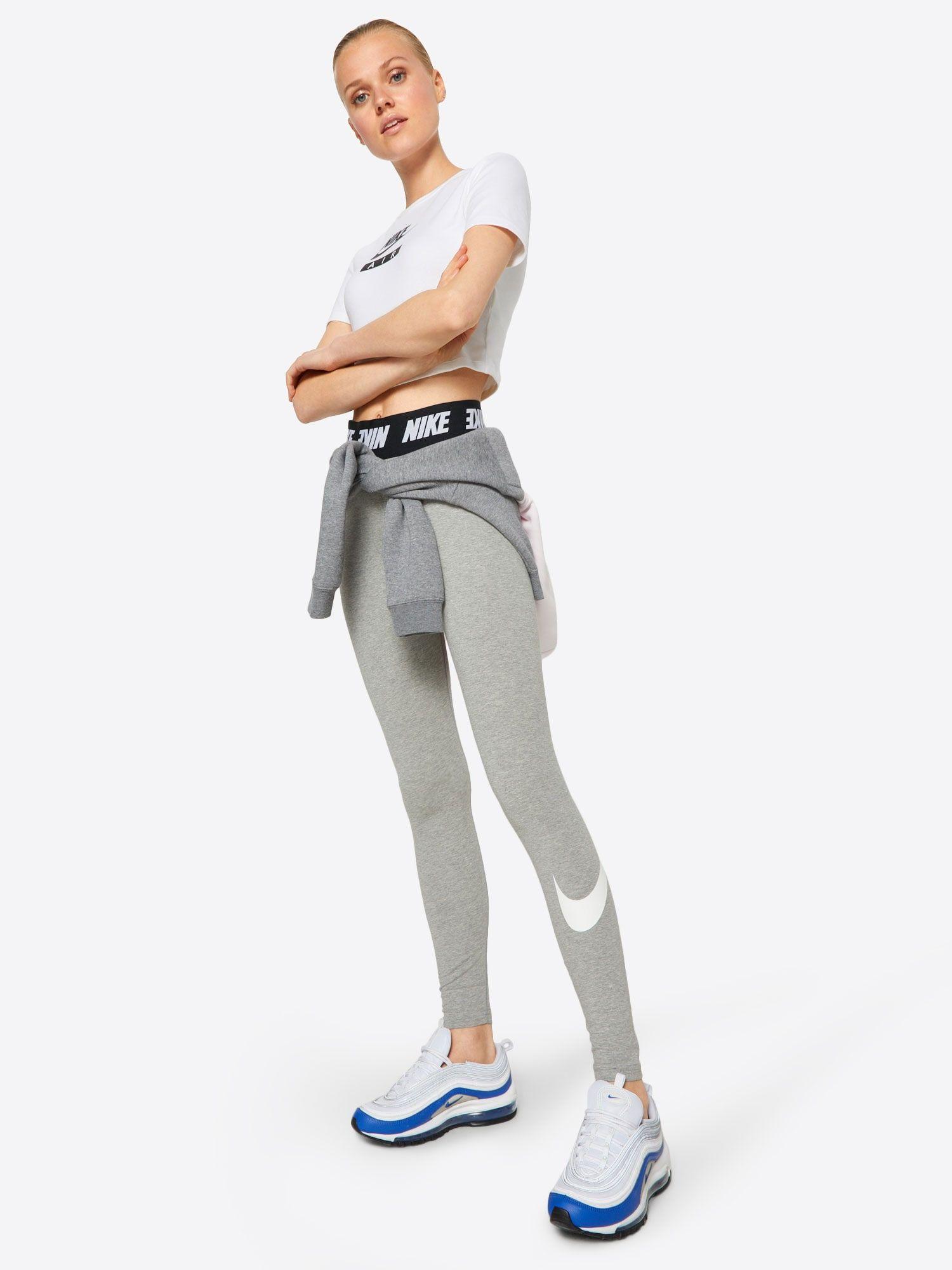 Nike Sportswear Leggings Damen Grau Schwarz Weiss Grosse M Nike Sportbekleidung Nike Sportswear Und Nike